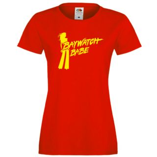 LADIES BAYWATCH BABE FITTED RED T-SHIRT